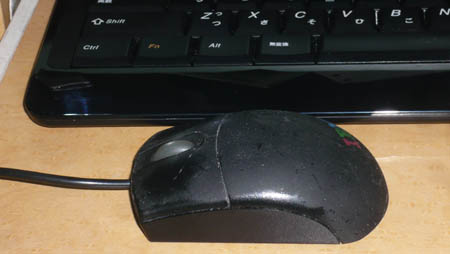 樹脂が変質したマウス