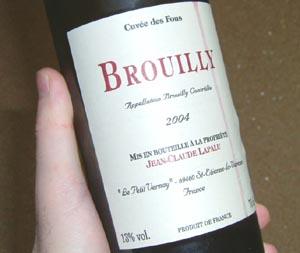 ブルイィ・キュヴェ・デ・フー・ジャン・クロード・ラパリュ ソムリエールの赤ワイン。
