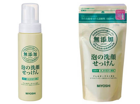 ミヨシ 泡の洗顔せっけん(無添加)で健康な肌へ 泡切れ良好!